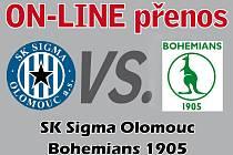 Online ze zápasu Sigma - Bohemians.