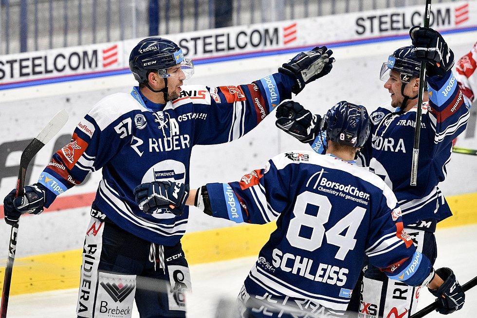 Utkání 38. kola hokejové extraligy: HC Vítkovice Ridera - HC Olomouc, 22. Ledna 2021 v Ostravě. (vlevo) Jan Hruška z Vítkovic oslavuje gól.