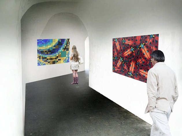 Vizualizace galerie v průchodu v budově jezuitské univerzity v centru Olomouce