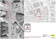 Uzavírka Palackého ulice - dopravní značení
