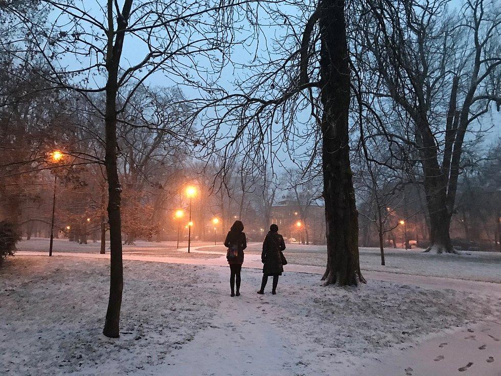 První letošní sníh v Olomouci. 18. ledna 2020