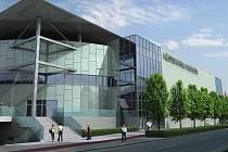 Vizualizace původního velkolepého plánu na přestavbu zimního stadionu na multifunkční halu