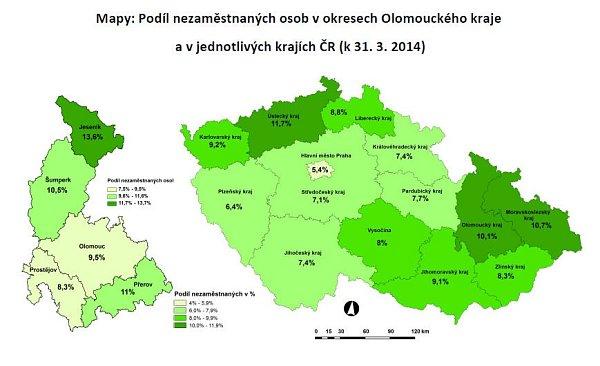 Nezaměstnanost vOlomouckém kraji - březen 2014