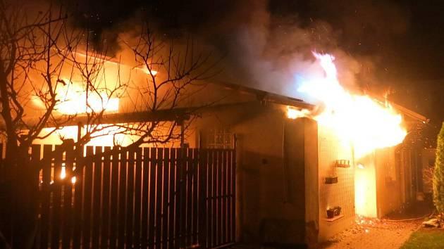 Požár přístavku rodinného domu v Horce nad Moravou