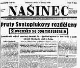 Titulní strana olomouckého Našince 15. března 1939