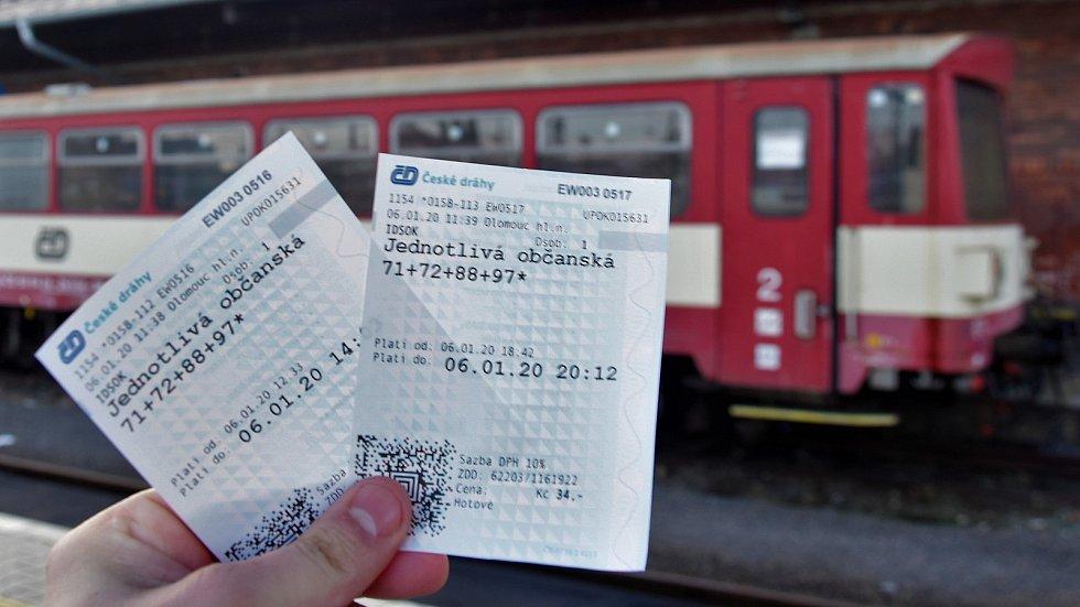Zpáteční jízdenka Českých drah v roce 2020