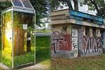 Zchátralé záchody v Čechových sadech nahradí smart toalety (v koláži vlevo)