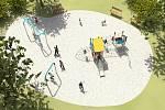 Vizualizace nového dětského hřiště v Mišákově ulici v Olomouci