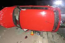 Havárie opilého řidiče v Tovární ulici v Olomouci