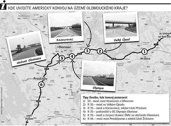 Průjezd amerického konvoje Olomouckým krajem