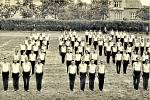Cvičení sokolů. Na stadionu u sokolovny v roce 1948.