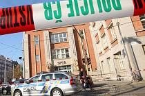 Pád zdiva z polikliniky SPEA na olomouckém náměstí Hrdinů