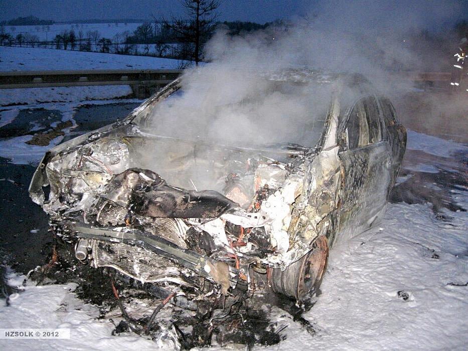 Následky nehody na R35 u Velkého Újezdu
