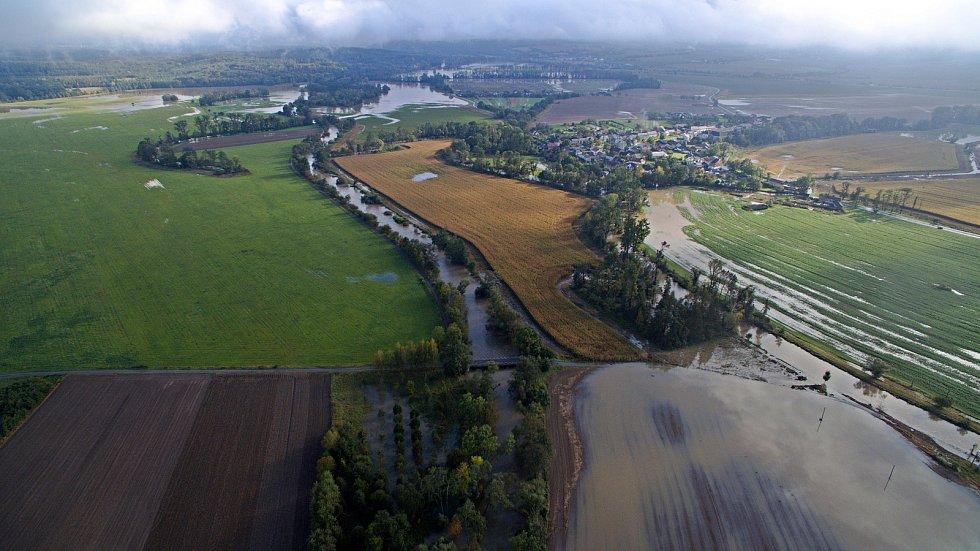 Řeka Morava a Třebůvka u Moravičan 15.10.2020.