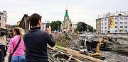 Bourání mostu v Komenského ulici v Olomouci - 19. července 2018