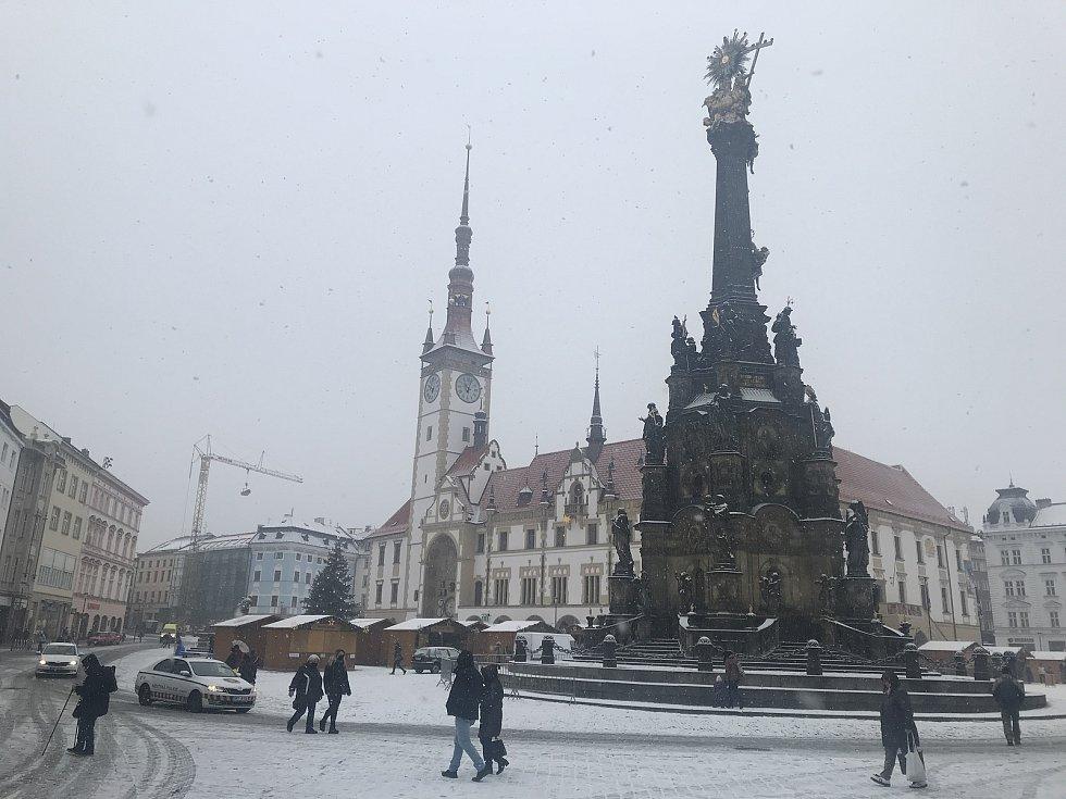 Sněžení v Olomouci. 3. prosince 2020