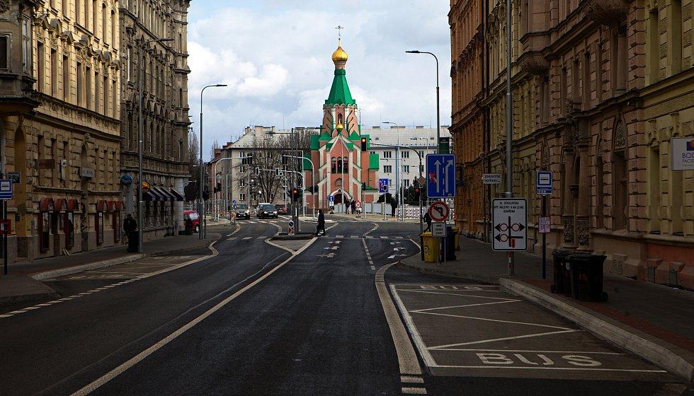 Komenského ulice v Olomouci po otevření mostu 27. února 2020