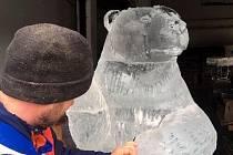 Práce na ledových sochách pro olomoucký masopust na Horním náměstí