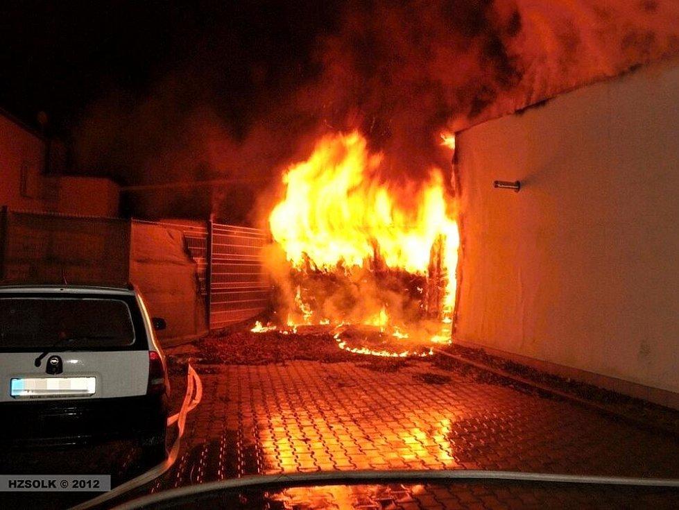 Požár sauny na Jeremenkově ulici v Olomouci