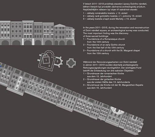 Deska, která bude  na Dilním náměstí připomínat významné archeologické objevy