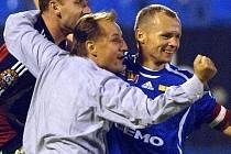 Trenér Sigmy Martin Pulpit se raduje po vítězném zápase s Baníkem.