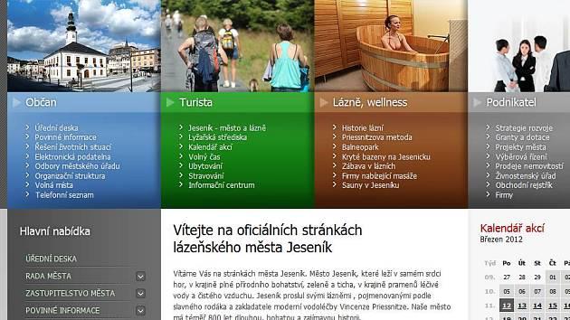 Web města Jeseník