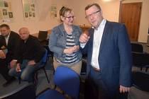 Volební štáb ČSSD v Olomouci - vpravo trojka kandidátky olomoucký primátor Antonín Staněk