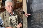 Josef Steigr vzpomíná na sestru Věru, o kterou přišel poslední den 2. světové války. V koláži s pamětní deskou v Litovli s jejím jménem