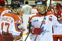 Olomoučtí hokejisté. Radim Kucharczyk (vlevo) a Miroslav Holec. Ilustrační foto