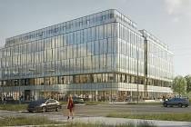 Vizualizace kancelářského komplexu Envelopa Office Center u křižovatky třídy Kosmonautů a třídy 17. listopadu v Olomouci