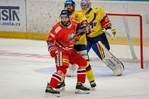 Olomoučtí hokejisté (v červeném) v utkání 9. kolo extraligy hostili České Budějovice.
