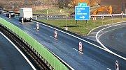 Zúžení na D46 na exitu u Olšan. Ilustrační foto