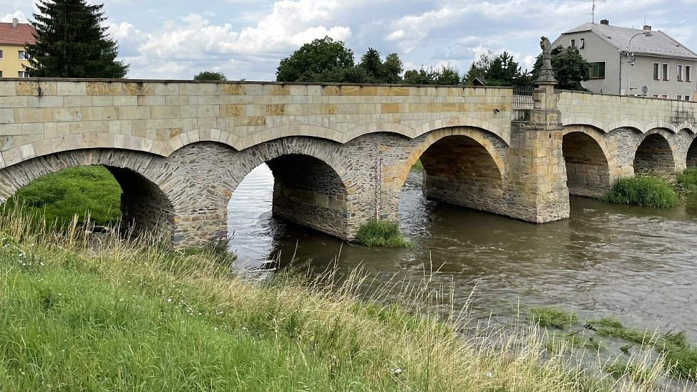 Historický Svatojánský most v Litovli, červenec 2021