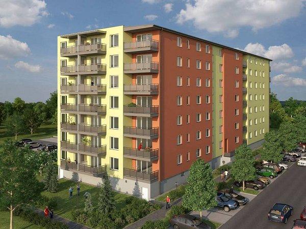 Jánského - vizualizace jednoho zbytových domů vJánského ulici na sídlišti Povel
