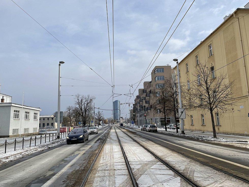 Třída 17. listopadu v Olomouci. únor 2021