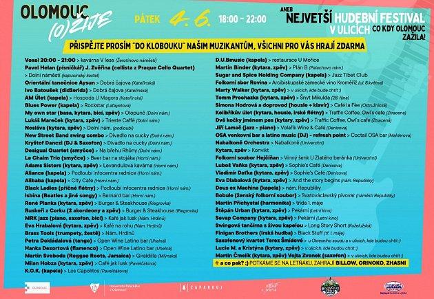 Program festivalu Olomouc (o)žije