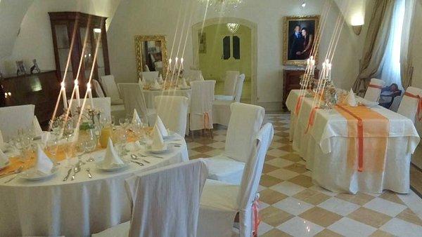 Svatební tabule na zámku Ořechov