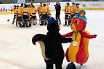 Hokejisté Olomouckého kraje (ve žlutém) vybojovali bronzové medaile na Olympiádě dětí a mládeže
