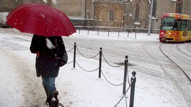 8. ledna 2019. Zasněžené ráno v centru Olomouce