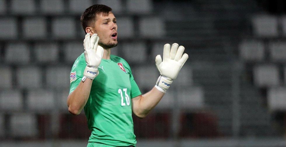 Aleš Mandous v zápase ČR - Skotsko na Andrově stadionu v Olomouci