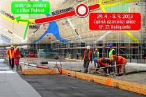 Omezení kvůli stavbě nové tramvajové trati v Olomouci