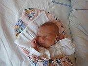 Robin Hüblová, Pňovice, narozena 23. července v Olomouci, míra 50 cm, váha 2960 g.