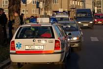 Srážka auta s chodkyní u Slovanského domu.