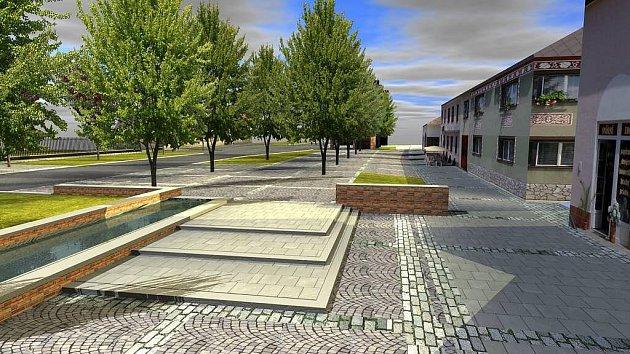 Vizualizace navržené přestavby centra Slatinic