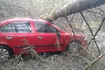 Na auto v Huzové spadl kvůli silnému větru strom