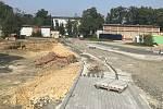 Stavba nového vjezdu do fakultní nemocnice Olomouc, 12. září 2020