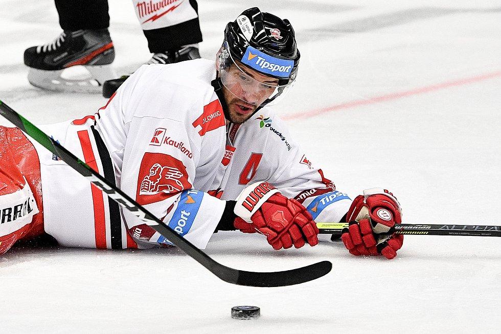 Utkání 38. kola hokejové extraligy: HC Vítkovice Ridera - HC Olomouc, 22. Ledna 2021 v Ostravě. David Ostřížek z Olomouce.