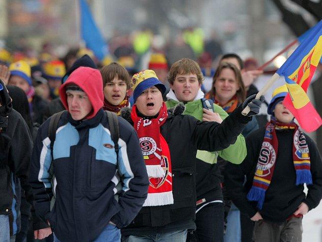 Sparťanští fanoušci přijeli na zápas do Olomouce.