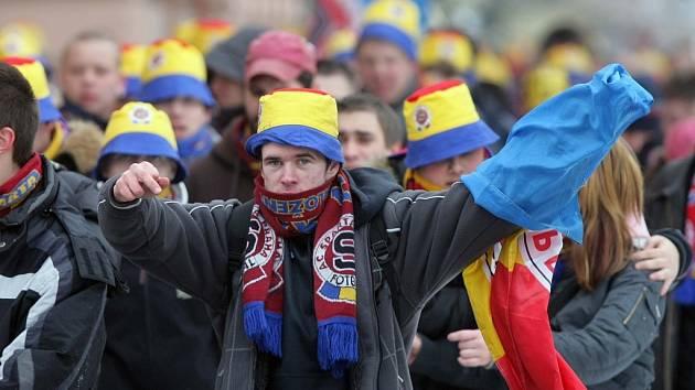 Sparťanští fanoušci v  Olomouci