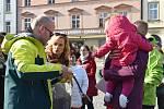 Rozlučka Milana Langera a jeho týmu před cestou do Santiaga de Compostela na Horním náměstí v Olomouci, 21. 3. 2019